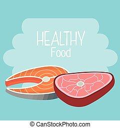 viande, boeuf, sain, saumon, nourriture, délicieux