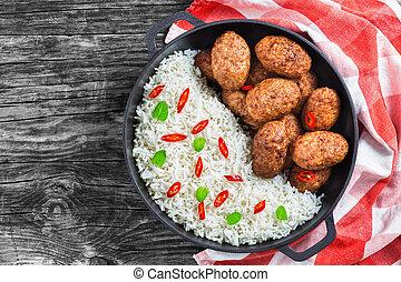 viande, côtelettes, sommet, juteux, délicieux, riz, vue