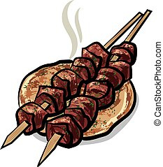 viande, chiche-kebab