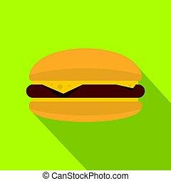 viande, chignon hamburger, icône, fromage, petit pâté