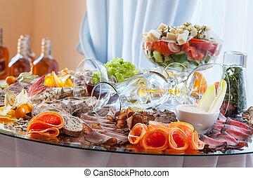 viande coupée tranches, sur, table banquet