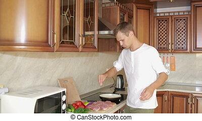 viande, cuisine, jeune, kitchen., préparer, homme