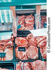 viande fraîche, supermarché, cru