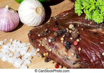 viande fraîche, vegetables.
