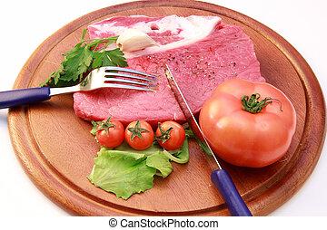 viande, frais, quelques-uns, légumes