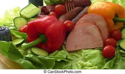 viande, fumé, saucisse