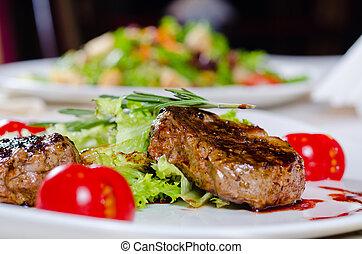 viande, gourmet, -, juteux, cours, tendre, grillé, principal
