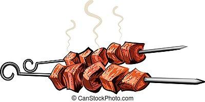 viande grillée, chiche-kebab