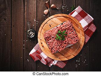viande hachée, sur, a, table bois