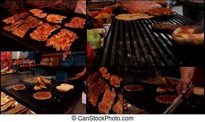 viande, hamburger, gril, barbecue