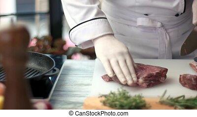 viande, hands., couteau