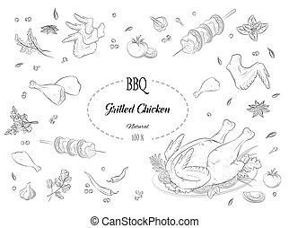 viande, herbes, poulet, barbecue, grillé, épices