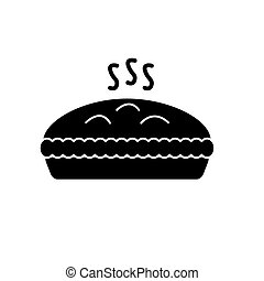 viande, illustration, tarte, isolé, vecteur, arrière-plan noir, icône, signe
