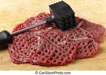 viande, maillet, et, minute, biftecks
