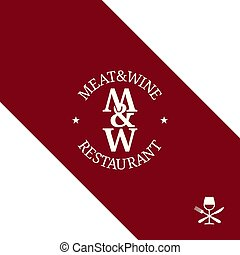 viande, menu restaurant, arrière-plan., logo., vin rouge
