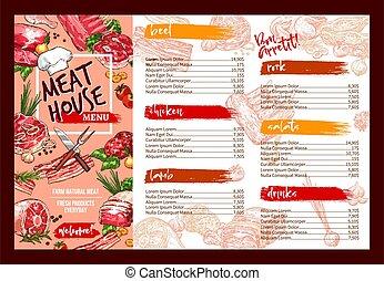 viande, menu restaurant, vecteur, gabarit, frais