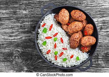 viande, morceaux, côtelettes, dispersé, piment, riz