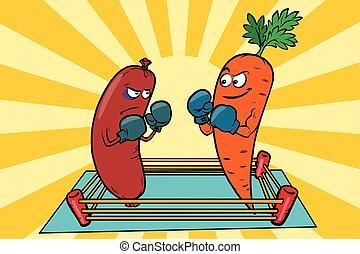 viande, régimes, manger, vs, vegetarianism, guerre