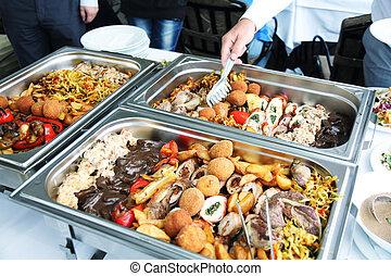 viande, restaurant, compteur, restauration, déjeuner, cuisinier, frit, public