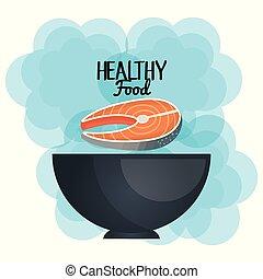 viande, sain, saumon, bol, nourriture, délicieux