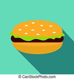 viande, salade verte, chignon hamburger, icône, petit pâté