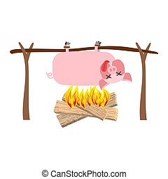 viande, spit., cochon, torréfaction, grillé, pork., barbecue, porcelet