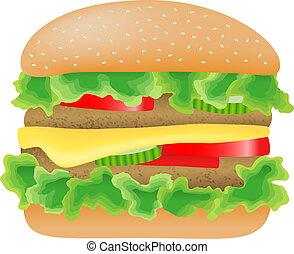 viande, tomate, salade verte, concombre, fromage, hamburger