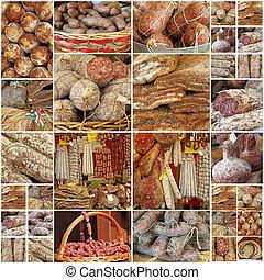viande, victuailles, collage, régional, paysan, images, italien