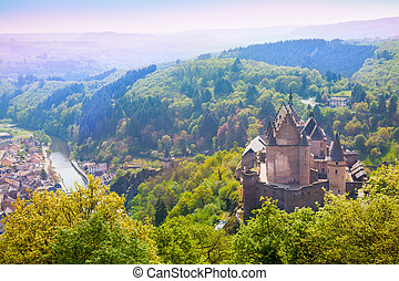 Vianden castle and valley in Luxembourg