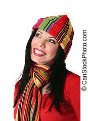 vibráló, mosolyog woman