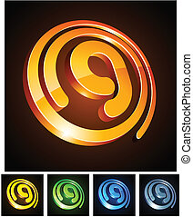 Vector illustration of g 3d shiny letters.
