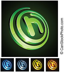 vibrant, 3d, letter., h