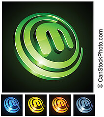 Vibrant 3d m letter. - Vector illustration of m shiny...