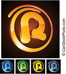 Vibrant 3d r letter. - Vector illustration of r 3d shiny...