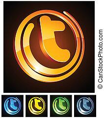 Vibrant 3d t letter. - Vector illustration of t 3d shiny...