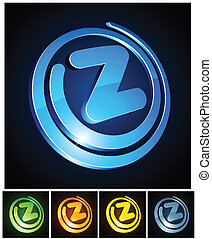 Vibrant 3d z letter. - Vector illustration of z 3d shiny...