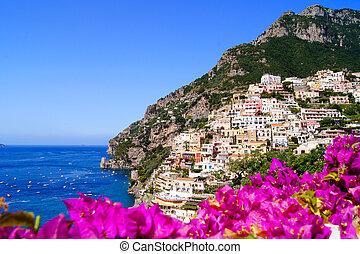 Vibrant Amalfi Coast - Panoramic view of Positano on the...