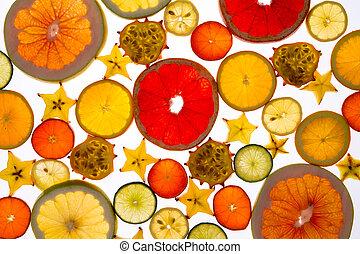 Vibrant backdrop of translucent sliced fresh fruit