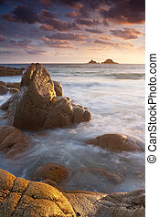 Vibrant beach sunset Cornwall England - Sunset on a tranquil...