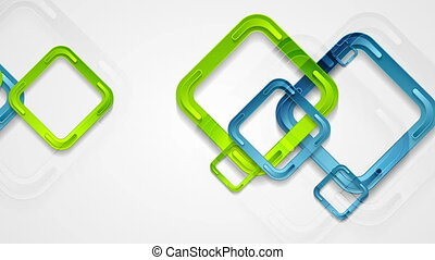 Vibrant blue and green squares video animation