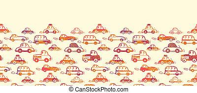 Vibrant cars horizontal seamless pattern background border