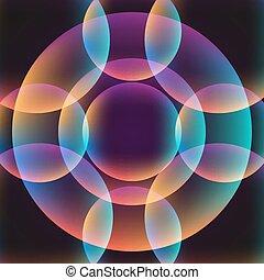 vibrant, cercle, résumé, fond
