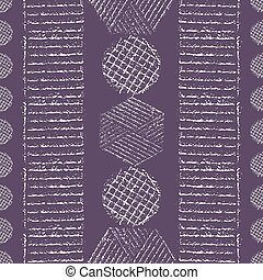 Vibrant chalk tribal geometric design with hexagons, circles, diamonds. Seamless vector pattern on purple background. Perfect for organic, eco, wellness, cosmetic products, fabric, stationery