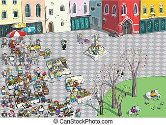 Vibrant City Square Cartoon - Vibrant City Square Cartoon....