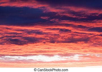 vibrant, clair, coucher soleil, ciel orageux