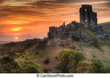 vibrant, clair, levers de soleil, château, ruines, paysage