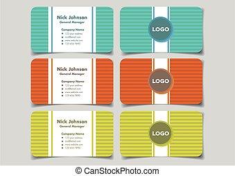 Vibrant Color Business Name Card Design with Horizontal Stripe Pattern Background Vector Illustration