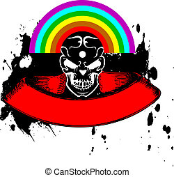 Vibrant Color Rainbow Skull Banner. Vector Illustration.