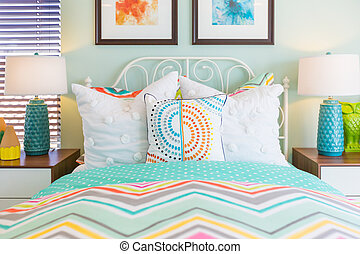 Vibrant Colored Interior Bedroom of House