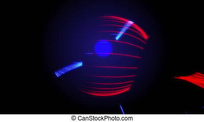 Vibrant Colorful Stripes Line Loop Animation Dark Background